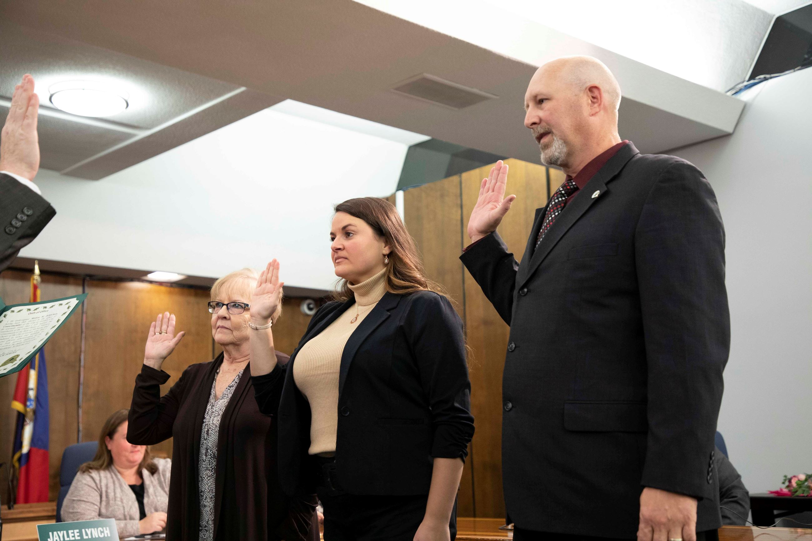 Council People Pat Squires, Melissa DiMichele and Brian Earle sworn in