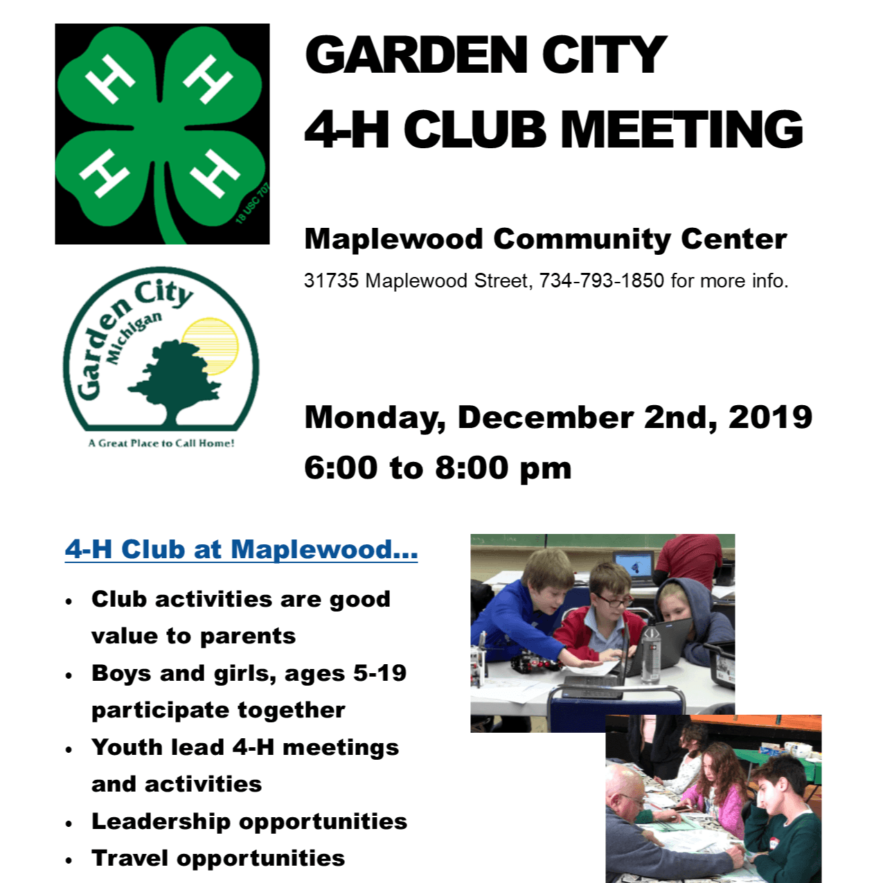 4-H General meeting flyer Dec 2019