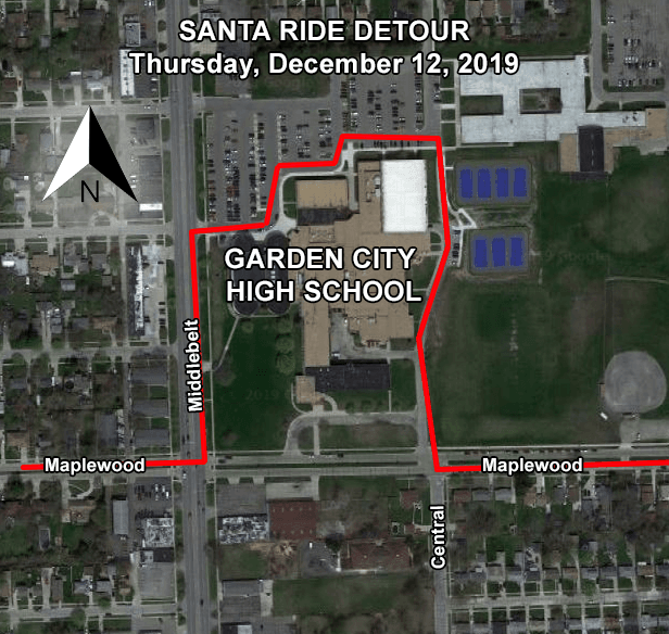 Santa Ride Detour Map