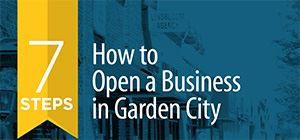 The 7 steps to opening a business in Garden City document.