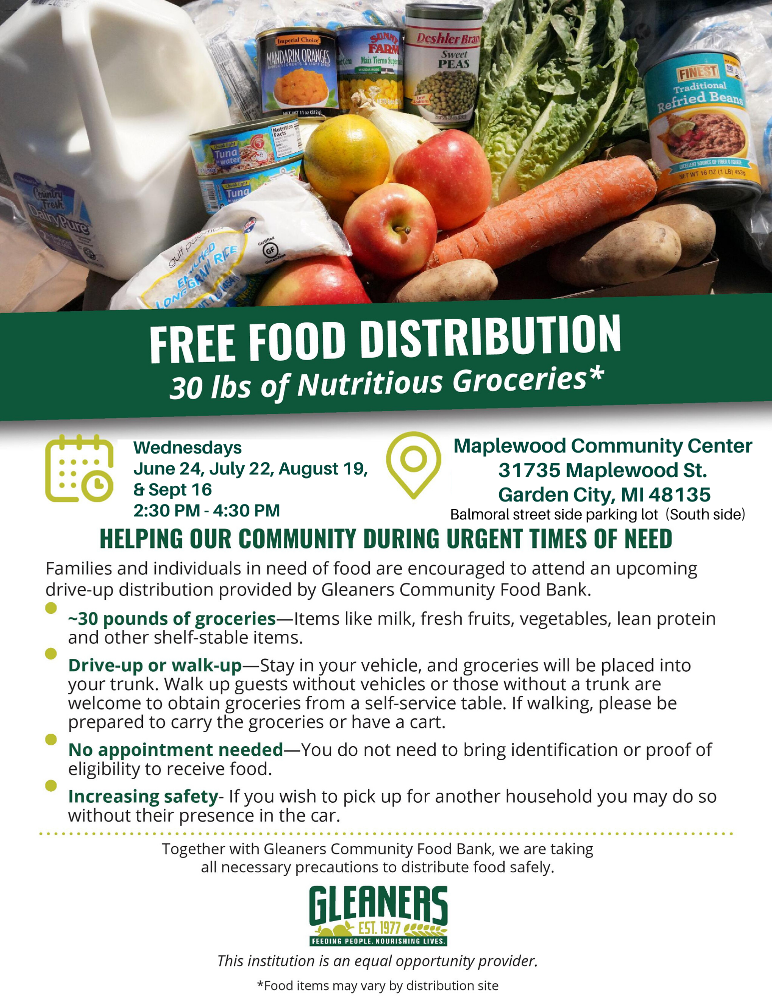 Gleaners Food Distribution Flyer 20