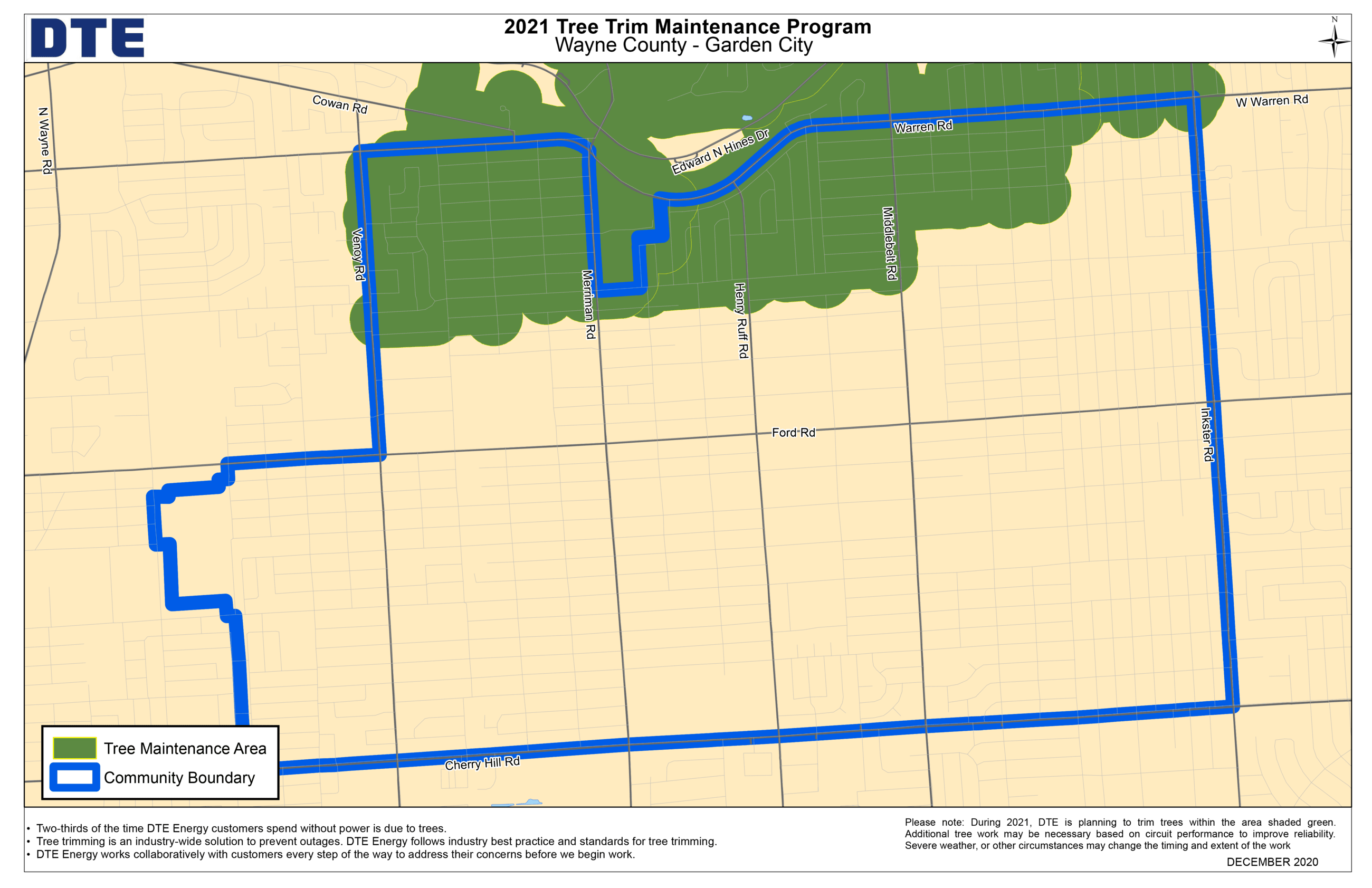 2021 DTE Tree Trim Map for Garden City